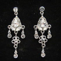 Bridal Earrings Clear Swarovski Crystal E1133 Photo