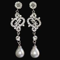 Bridal Faux Pearl Wedding Dangle Chandelier Earrings Made With Swarovski Crystal Photo