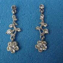 Bridal Flower Dangle Earrings Swarovski Crystal Perfect Gift E1051 Photo