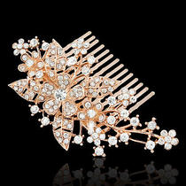 Bridal Flower Side Hair Comb Accessories Clear Austrian Crystal 18k Rose Gold Gp Photo