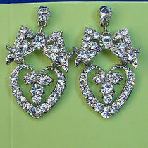 Bridal Heart Earrings Clear Swarovski Crystal E1176 Photo