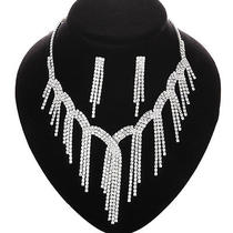 Bridal Jewelry Swarovski Crystal Sexy Tassels Necklacestick Earrings Slb009 Photo