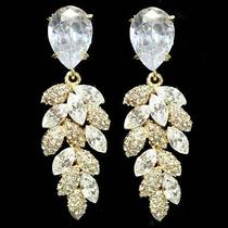 Bridal Made With Swarovski Crystal Chandelier Earring Hollywood Wedding Goldtone Photo