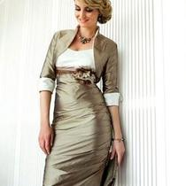 Bridal Mother Knee-Length Taffeta Wedding  /formal Dress/groom Free Jacket L16 Photo