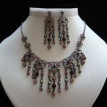 Bridal Necklace and Earrings Set Amethyst Swarovski Crystal Wedding Set N3032 Photo