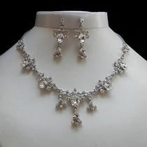 Bridal Necklace and Earrings Set Clear Swarovski Crystal N3074 Photo