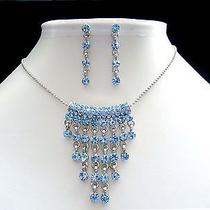Bridal Necklace & Earring Set Lt Sapphire Swarovski Crystal N1101b Photo