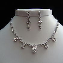 Bridal Necklace & Earrings Set Clear Swarovski Crystal Wedding Jewelry N3051 Photo