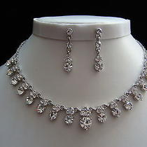Bridal Necklace/earrings Set Clear Swarovski Crystal Wedding Jewelry Set N3037 Photo
