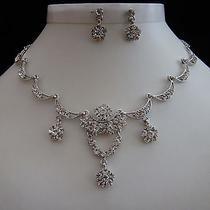 Bridal Necklace & Earrings Set Clear Swarovski Wedding Jewelry N3020 Photo
