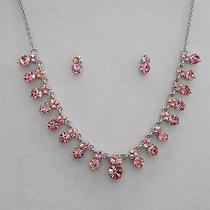 Bridal Necklace/earrings Set Lt  Rose Swarovski Crystal Wedding Jewelry N3037b Photo