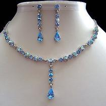 Bridal Necklace & Earrings Set Sapphire Color Swarovski Crystal N198b Photo