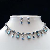 Bridal Necklace Earrings Set Sapphire Swarovski Crystal  Perfect Gift N179b Photo