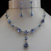 Bridal Necklace/earrings Set Sapphire Swarovski Crystal Wedding Set N1192b Photo