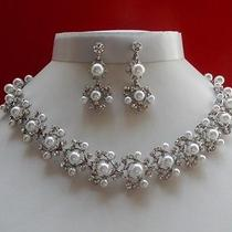 Bridal Necklace/earrings Set White Pearl & Swarovski Crystal Wedding Set N3072 Photo