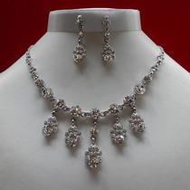 Bridal Necklace & Earrings Wedding Jewelry Set Clear Swarovski N3075 Photo