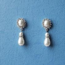 Bridal Pearl Drop Dangle Earrings Clear Swarovski Crystal White Pearl  E3179 Photo