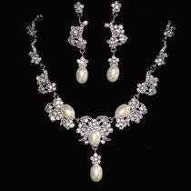 Bridal Pearl Vintage Style Necklace Earring Set Sign Snk Made With Swarovski Cry Photo