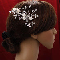 Bridalpromparty Hair Flower Pearls &swarovski Crystal Photo