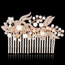 Bridal Rose Gold Tone Flower Pearl Hair Comb Clear Austrian Crystal Bridesmaid Photo