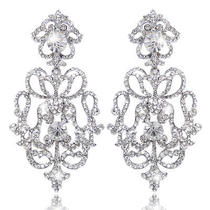 Bridal Royal Flower Earrings Swarovski Crystal Dangle Clear Vintage Style Photo