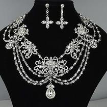 Bridal Swarovski Rhinestone Necklace & Earrings Photo