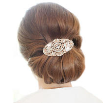 Bridal the Great Gatsby Inspired Hair Comb Rhinestone Crystal Rose Gold Tone Photo