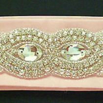Bridal Wedding Satin Belt Rhinestones Design C - Custom Made Photo