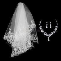 Bridal Wedding Shining Powder Veil Crystal Rhinestone Necklace Earrings Set Photo