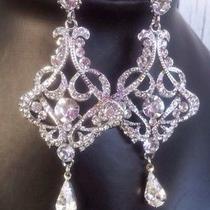 Bridal Wedding Swarovski Crystal Chandelier Earrings Jewelry Photo