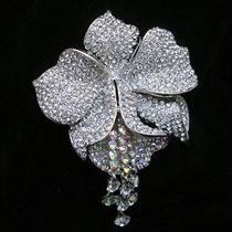 Bridesmaid Bridal Clear Swarovski Crystal Flower Brooch Pin Pendant Photo