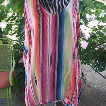 Bright Colorful Serape Southwestern Stripe Fringe Poncho Blouse Topm/l Photo