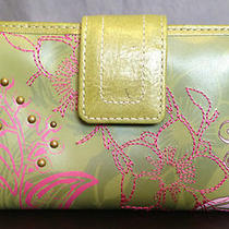 Bright Green Leather Fossil Bi-Fold Wallet Checkbook Photo Holder Cute Photo