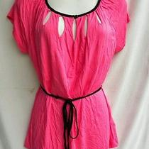 Bright Pink Black Rayon Knit Cut Out Neck Sexy Belted Top M h&m Photo