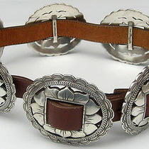 Brighton 1993 Silver Plate & Brown Leather Sunflower Concho Belt Size S/small Photo