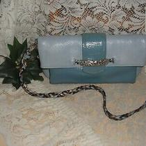 Brighton 2 Tone Blue Leather Handbag Clutch Multi Colored Braided Strap Rare  Photo