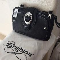 Brighton 215 Black Medium All Leather Brand New Messenger or Clutch Style Bag Photo