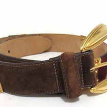 Brighton 4-Color Suede Gold Buckle Belt Size S Brown/green/tan/burgundy Photo