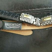 Brighton 44203 Alligator Grain Leather Silver/gold Metal Women's Black Belt Sz S Photo