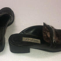 Brighton 7388 Brown/black Mules Womens Size 7 1/2 M Made in Italy Photo