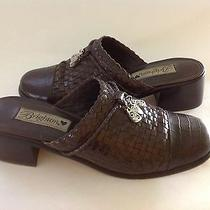 Brighton 9m Franki Charms Clogs Mules Slides Shoes Brown Woven Croc Leather Photo