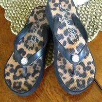 Brighton Animal Print Wedge Heel Flip Flops - Size 6 Photo