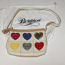 Brighton Art Heart Large Pouch Purse Leather Handbag White Bright Photo