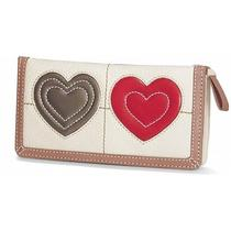 Brighton - Art Heart Large Wallet in White - Nwt Photo