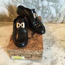 Brighton Astor Black Leather Mules Slides 6 1/2 6.5 61/2 Shoes Loafers Photo
