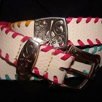 Brighton B2048w Silver Plate White Leather  Sunkissed Whipstitch Belt 28 Photo