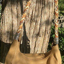 Brighton Barbados Colorful Strap Lg. Tan Leather  Pocket Tote Hobo Purse Photo