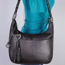 Brighton Barbados Med Metallic Gray Leather Shoulder Hobo Tote Satchel Purse Bag Photo