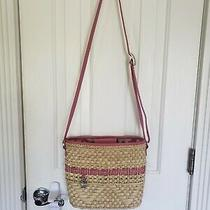 Brighton Basket Purse Tote Bucket Bag Pink Leather Trim Woven-Carmina Jewelry Photo