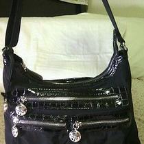 Brighton Baxter Black Handbag Microfiber/nylon Patent Leather Trim Photo